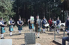 The Stevenson-Hamilton pipe band led by Drum Major Hulley Bruce