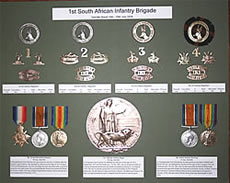 A medal display created by Moth Jon Tombs showing the structure of the 1st Soth African Infantry Brigade who fought at Delville Wood